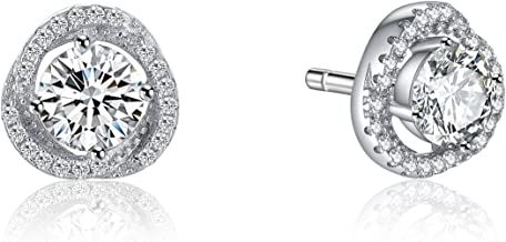 Rhodium Plated Sterling Silver Round Solitaire Cubic Zirconia CZ Halo Stud Earrings