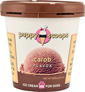 Puppy Scoops Ice Cream Mix for Dogs: Carob (Natural Dog Safe Chocolate Flavor) - Add Water and Freeze at Home