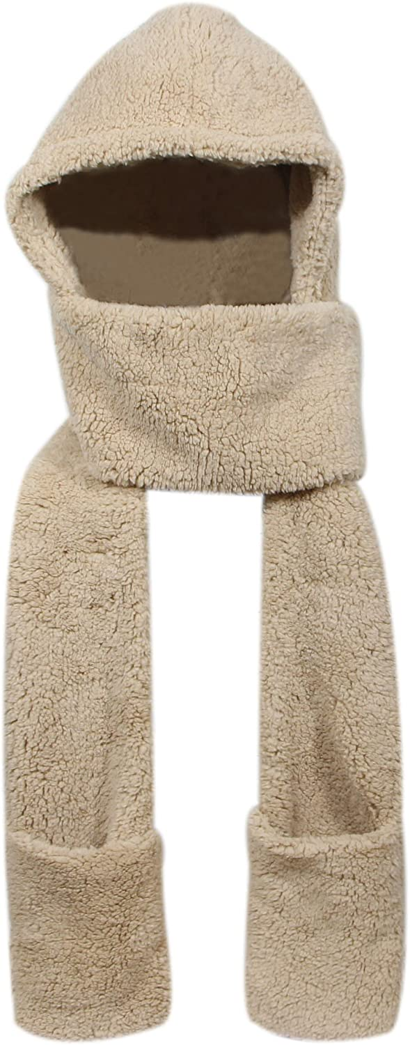 Super Soft Fleece Women's Hooded Denver Mall Pocket Hat Scarf W 67% OFF of fixed price Glove