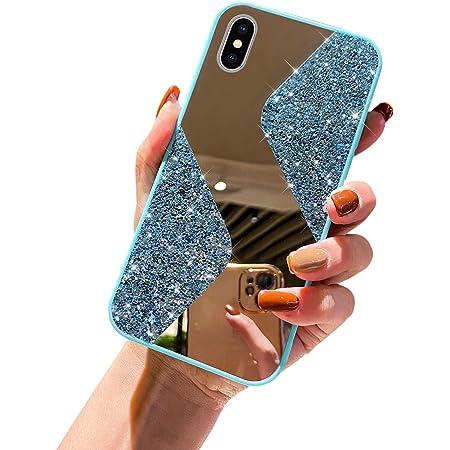 URFEDA Kompatibel mit iPhone XS Max Handyhülle Überzug Spiegel, Silikonhülle mit 360 Grad Ring Ständer Glitzer Bling Strass Diamant Hülle Schutzhülle Durchsichtig Clear Tasche Case,Hellblau
