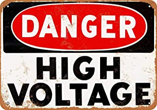 Jesiceny New Tin Sign Danger High Voltage Vintage Look Reproduction Aluminum Metal Sign 8x12 INCH