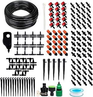 TIMESETL 168 pcs Sistema de riego de jardín, Micro Kit de riego por Goteo Riego automático Rociadores automáticos Kit de riego de jardín para Jardines, Macizo de Flores, Plantas de Patio