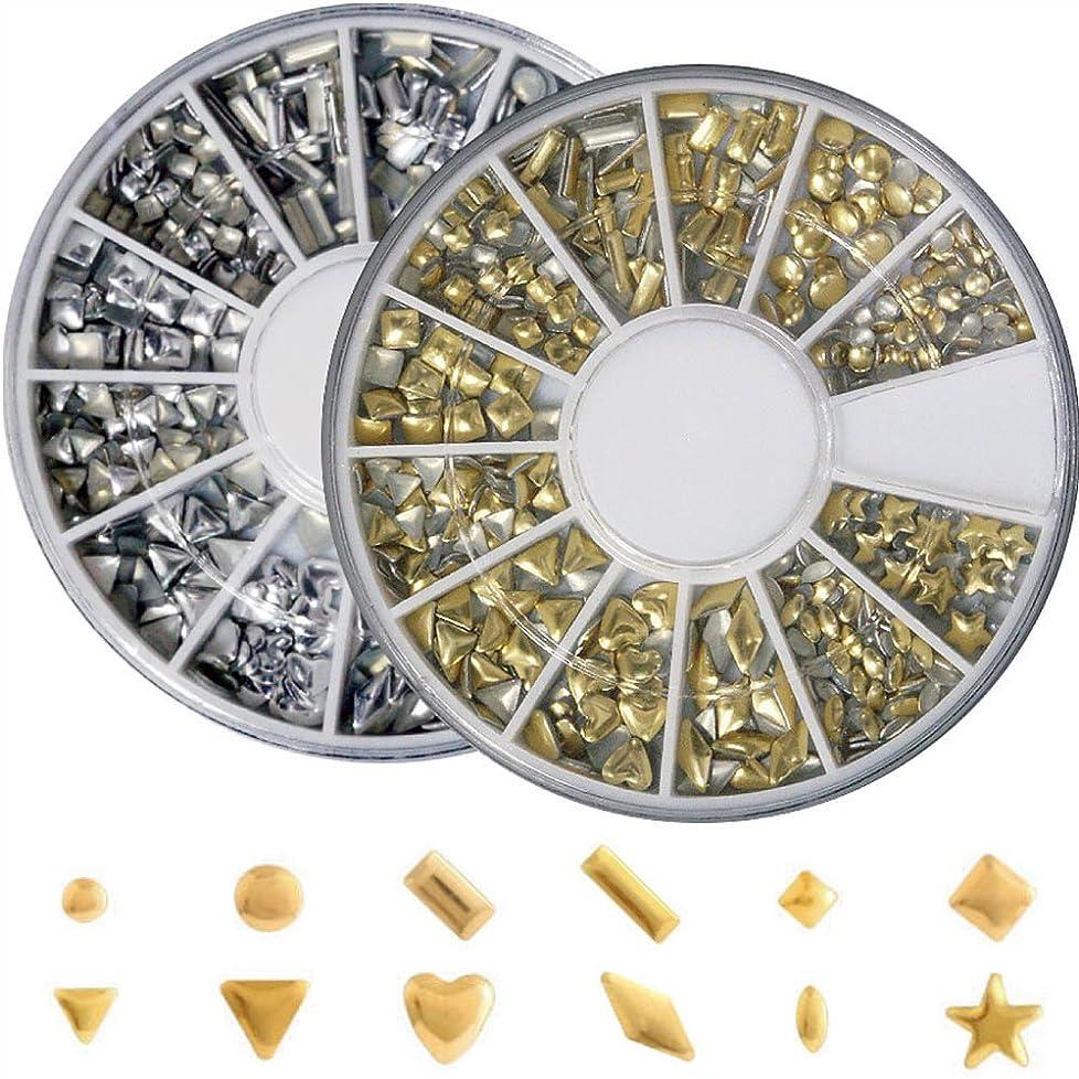 おばあさんむちゃくちゃ密度メタルスタッズ12種類 ネイル用 ゴールド&シルバー ラウンドケース入2個/セット