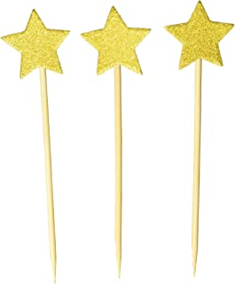 DLOnline 50Pack Cupcake Topper Glitter Gold Star Cakes Toppers