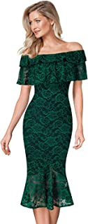 Women Elegant Floral Lace Cocktail Party Mermaid Midi Mid-Calf Dress