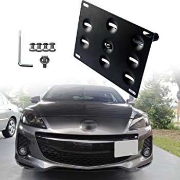 2013-up Mazda CX-5 iJDMTOY No Drill Front Bumper Tow Hole Adapter License Plate Mounting Bracket For 2014-up Mazda3 Mazda6
