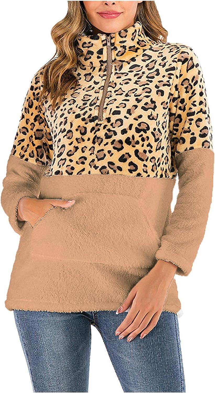 Hemlock Women Zipper Pullover Sherpa Sweatshirt Coat Leopard Print Fall Tops Turtleneck Pullovers Sweater Outwears