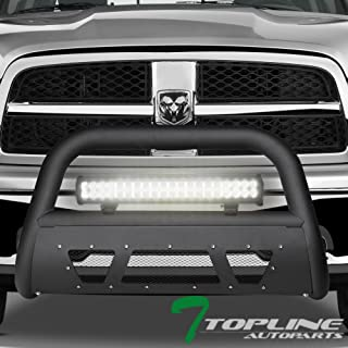 Topline Autopart Matte Black Studded Mesh Bull Bar Brush Push Front Bumper Grill Grille Guard With Skid Plate + 120W CREE LED Fog Light For 09-18 Dodge Ram 1500/2019 Classic