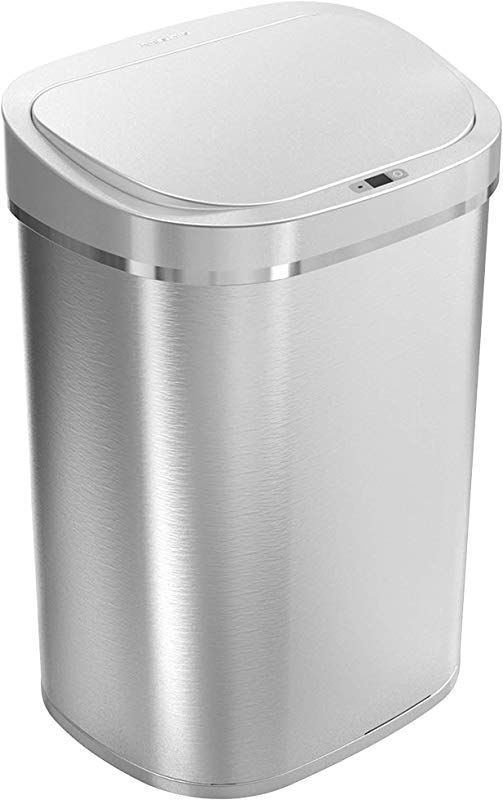 Ninestars DZT 80 35 Automatic Touchless Infrared Motion Sensor Trash Can 21 Gal 80L Heavy Duty Stainless Steel Base Oval Silver Brush Lid Trashcan SS