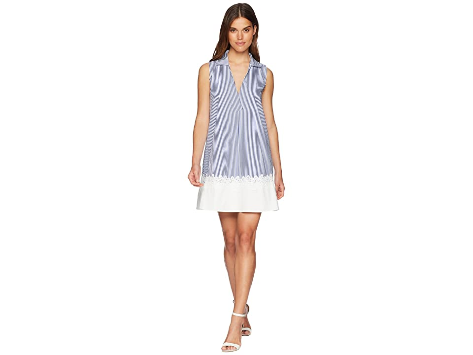 CATHERINE Catherine Malandrino Dot Swing Collar Dress with Lace Hem (Blue/White Stripe) Women