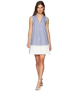 Dot Swing Collar Dress with Lace Hem