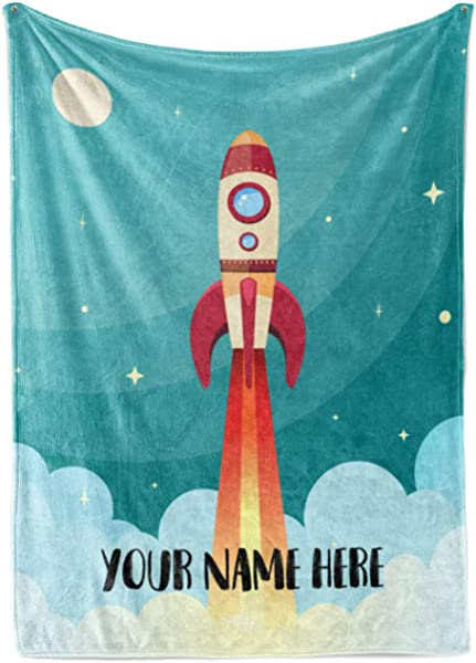 Personalized Kids Rocket Launch Space Theme Fleece Blanket Boys Girls Toddler Baby Throw Blanket Perfect For Travel Portable Nursery 50 X 60 Child