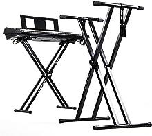 Duronic KS2B Support pour synthétiseur/clavier avec vis et sangles de fixation –Hauteur réglable - Léger – Supporte 30 kg