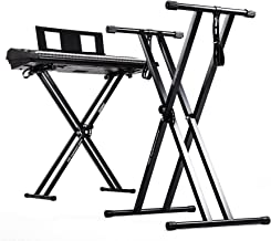 Duronic Keyboard Stand KS2B | Twin X Frame | Height Adjustable 33-98cm | Double Braced Legs for Digital Pianos | Quick-Pull Release | With Support Straps to Secure Keyboard | Holds up to 20kg