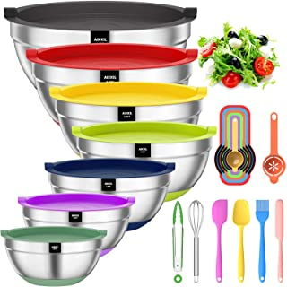 Mixing Bowls with Airtight Lids, 20 piece Stainless Steel Metal Nesting Bowls, AIKKIL Non-Slip Colorful Silicone Bottom, S...