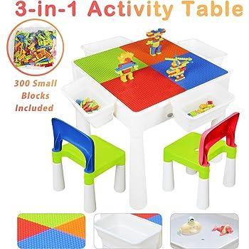 KORIMEFA Juego de Mesa y 2 Sillas Infantiles Mesa de Mesa de Actividades Multiusos Compatible 3