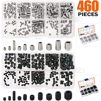 Didamx 250Pcs M3 M4 M5 M6 M8 Allen Head Hex Socket Grub Screws Bolts Fasteners Self-tapping Screw Socket Head set with Hex L-Wrenches