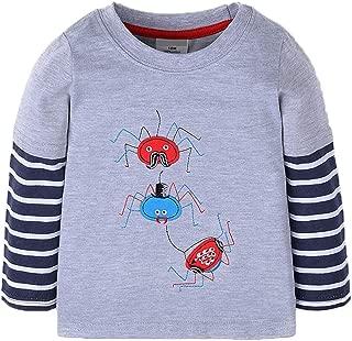 Mengmeng Baby Boys Dinosaur Long Sleeve T-Shirts Toddler Cotton Shirts Tops Stripe