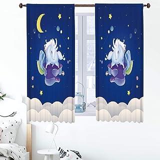 fangzhuo Unicorn Curtains Kids Room Decro Moon Stars Clound Window Curtain Panels Decor for Bedroom Rod Pocket 2 Panels Na...