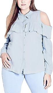 City Chic Trendy Plus Size Cold-Shoulder Chambray Shirt (Light Denim, XL)