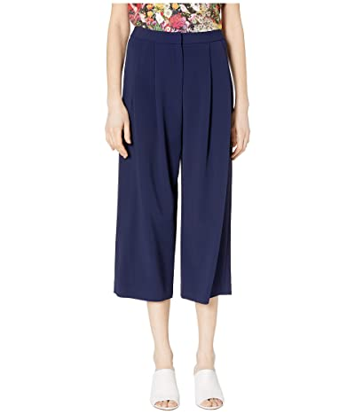 Adam Lippes Stretch Cady Pleat Front Culotte (Navy) Women