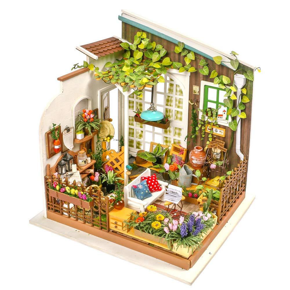 Kit de ensamblaje de casa de muñecas en Miniatura DIY, Modelo de jardín Abierto, Regalos creativos, Manualidades y Decoraciones, con una Colorida terraza de jardín con luz LED: Amazon.es: Jardín