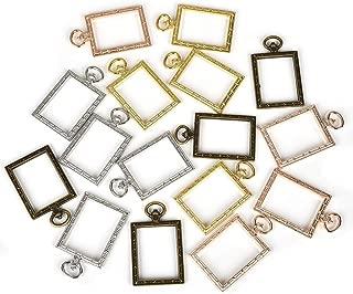 DROLE 20pcs Rectangle Open Bezel Vintage Clock Circle Pendant Frame Blank for UV Resin Crafts DIY Jewelry Making