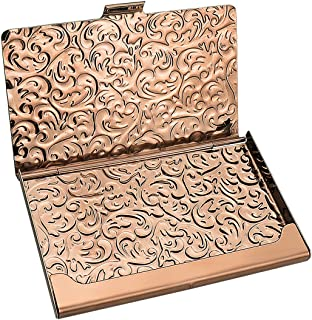 YOBANSA Stainless Steel Rose Gold Business Card Holder Credit Card Holder Name Card Holder Business Card Case for Men and ...