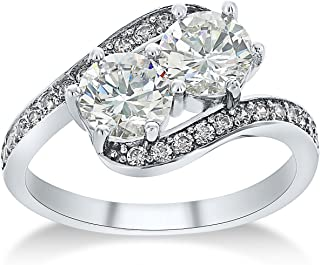 Montage Jewelry Women's Bypass Cubic Zirconia & Sterling Silver Bridal Ring