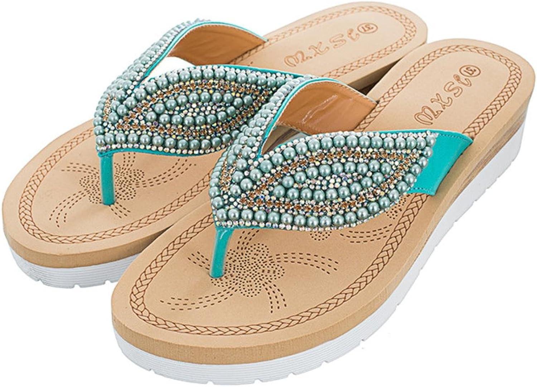 Women slippers summer bluee color crystal beaches flip flops