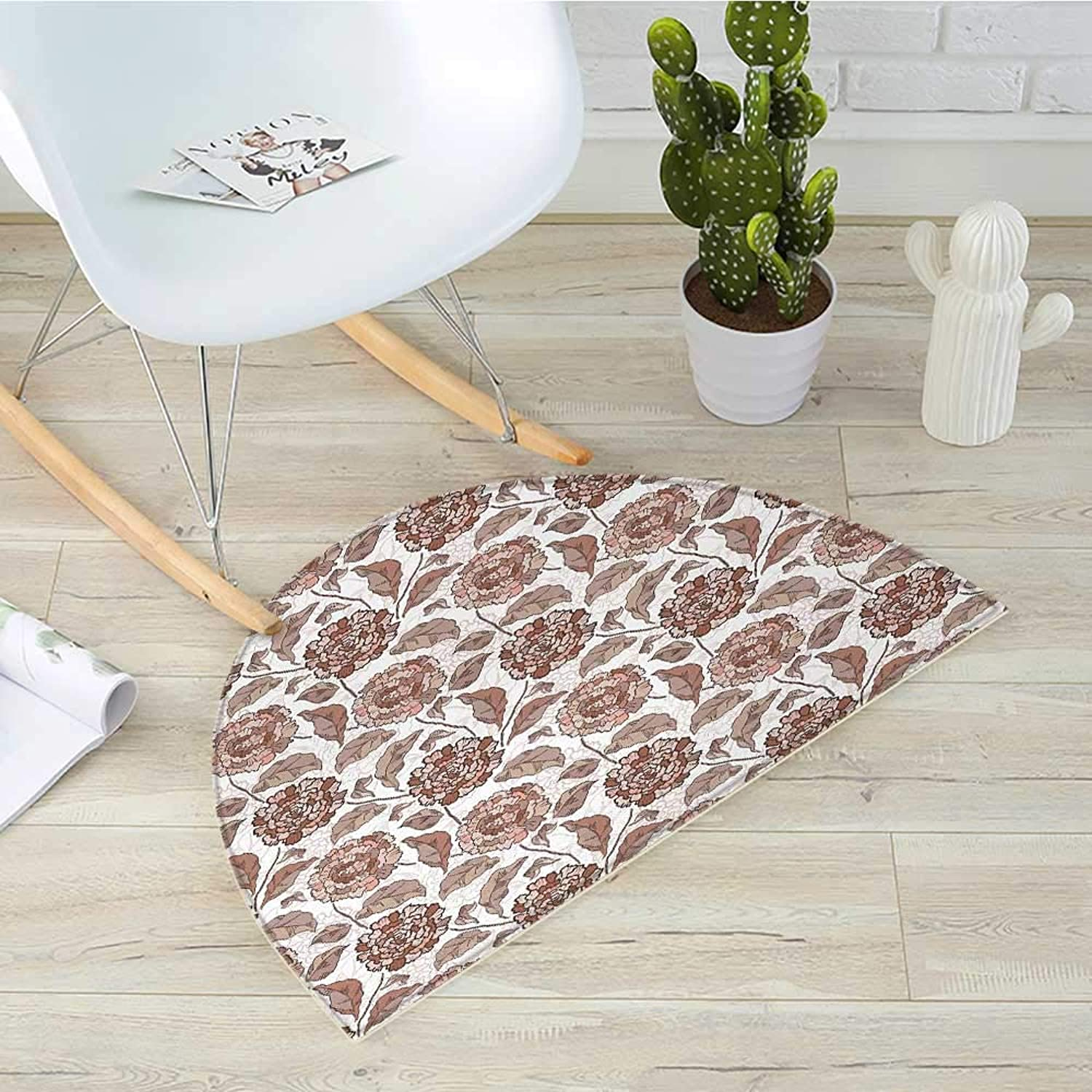 Floral Semicircle Doormat Earth Tones Blossom Chrysanthemums Cottage Foliage Ornamental Pattern Halfmoon doormats H 43.3  xD 64.9  Warm Taupe Umber bluesh