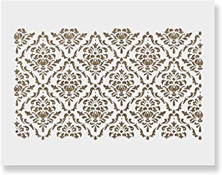 Damask Floral Stencil for Walls - Reusable Large Wall Stencils for Painting and Interior Design Work - 34.5