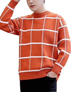 OTW Men Stripe Long Sleeve Knitting Loose Fit Crew Neck Color Block Pullover Sweaters