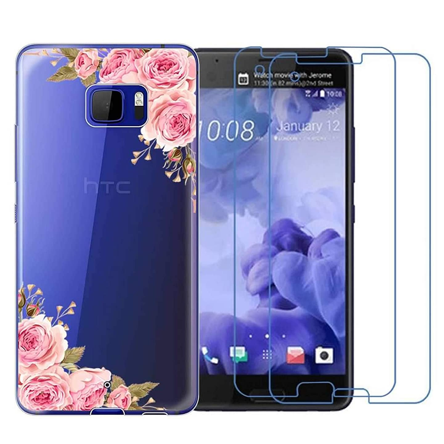 HTC U Ultra Case with 2 Pack Glass Screen Protector Phone Case for Men Women Girls Clear Soft TPU with Protective Bumper Cover Case for HTC U Ultra-Rose