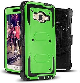 J.west Galaxy J3 Case, J3 (2016) Case,Shock Absorption Full Body Rugged Hybrid Armor Stand Holster Belt Clip Defender Cover for J3, J3 (2016), J3 V, Express Prime, Amp Prime, Galaxy Sky- Lime Green