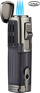 TOMOLO Torch Lighter Triple Jet Flame Refillable Butane Cigar Lighter with Cigar Punch,2 Pack, Black