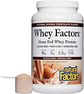 Whey Factors by Natural Factors, Grass Fed Whey Protein Concentrate, Supports Muscle Development and Immune Health, Double Chocolate, 2 lbs (34 servings)