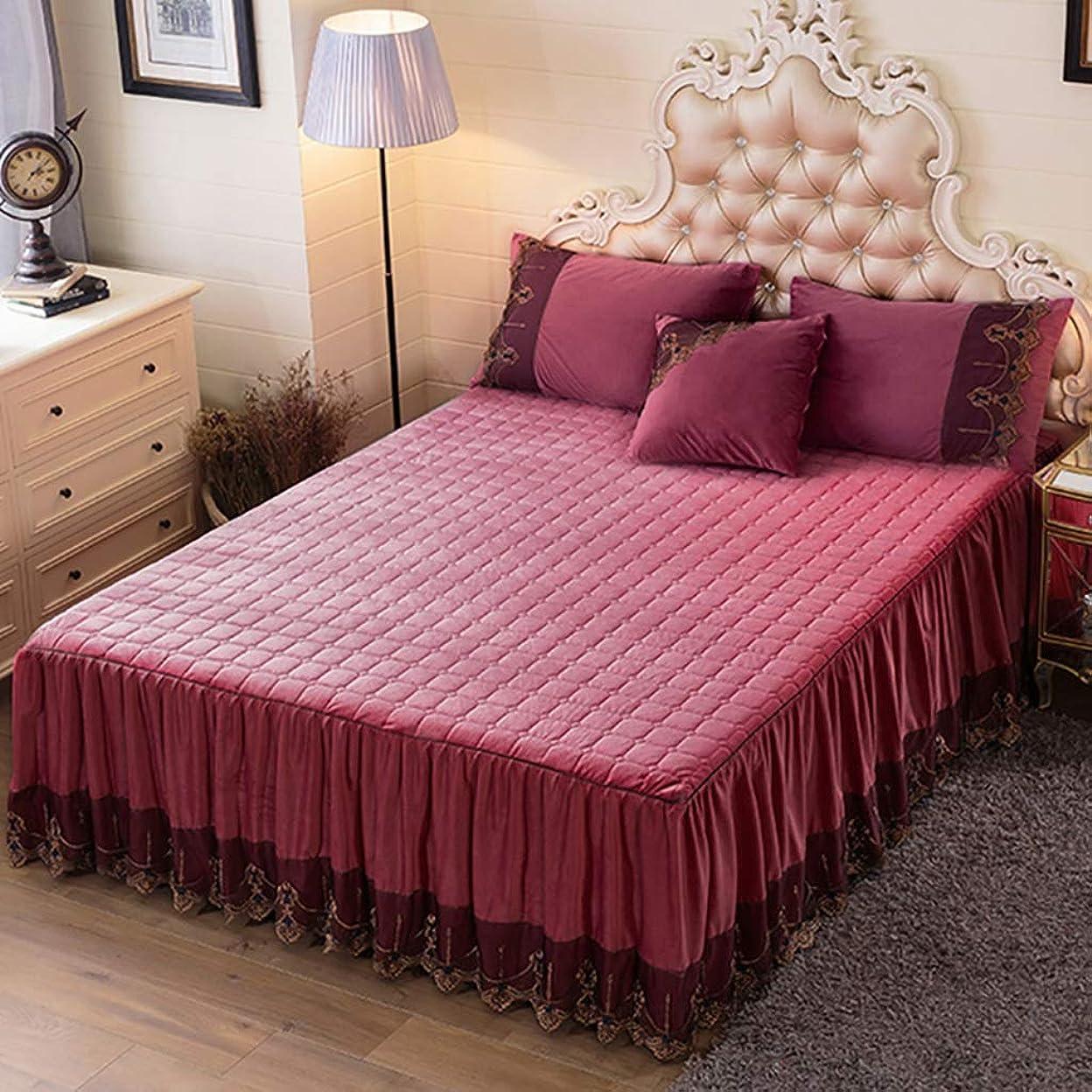 爪気づかないほこり寝具カバーセット 3点セットベッドの上掛け布団カバーベッドスカートシーツピローケースクッションカバー布団カバーギフトベッドセット寝具ホテルファミリー厚くキルティング (色 : A3, サイズ さいず : 180*200CM bed skirt)