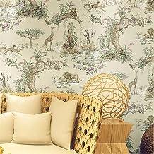UKWCDSKK Self-adhesive wallpaper Elephant Giraffe Wallpaper Living Room Bedroom Night View Background Wallpaper