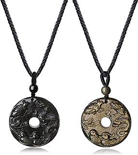 COAI Coppia di Pendenti Intarsiati con Motivo Drago-Fenice e Anatre Mandarine in Ossidiana