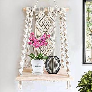 Urooz Macramé Wooden Wall Hanging Shelf  940  Modern Chic Woven Macrame Tapestries, Wall Art Home Decor for Apartment, Dor...