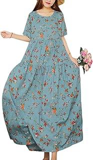 Women Casual Loose Bohemian Short Sleeve Floral Dress Long Maxi Summer Beach Swing Dress/Pockets EJF