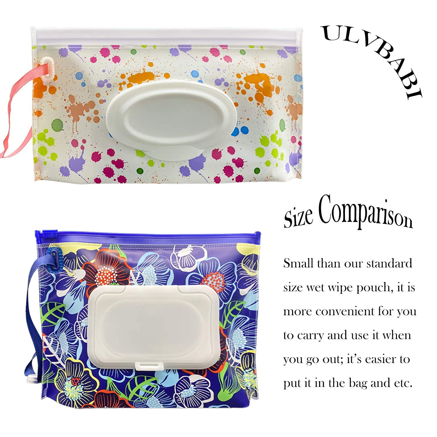 Flower Pattern ULVBABI 2 Pack Portable Wet Wipe Pouch Container Reusable /& Refillable Baby Wipes Dispenser Eco Friendly and Lightweight Handy Travel Diaper Wipes Carrying Case Holder