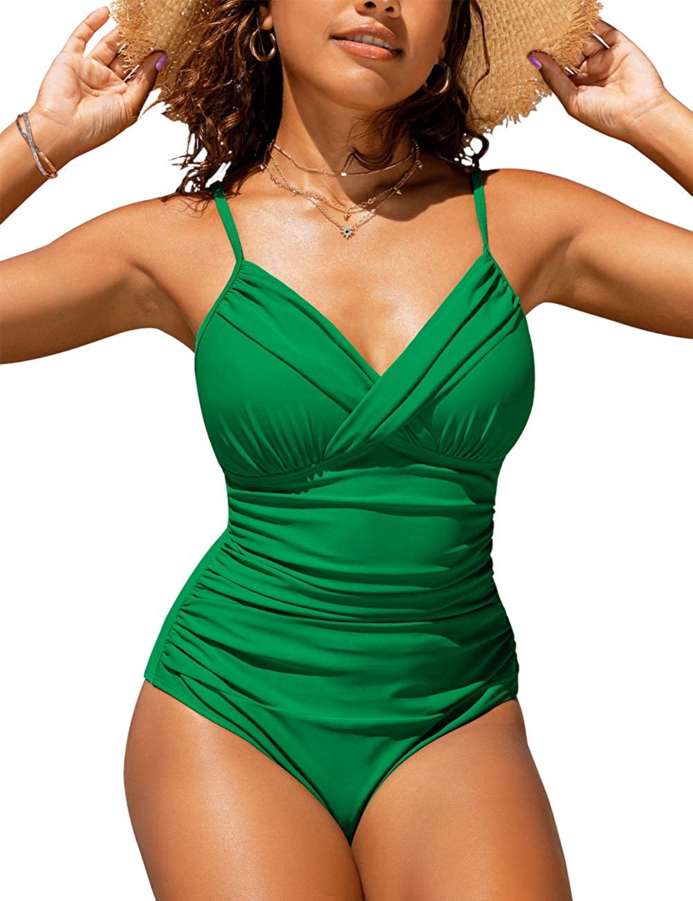 Hilor Women's One Piece Swimsuits Front Twist Swimwear V Neck Shirred Bathing Suit Monokini Tummy Control