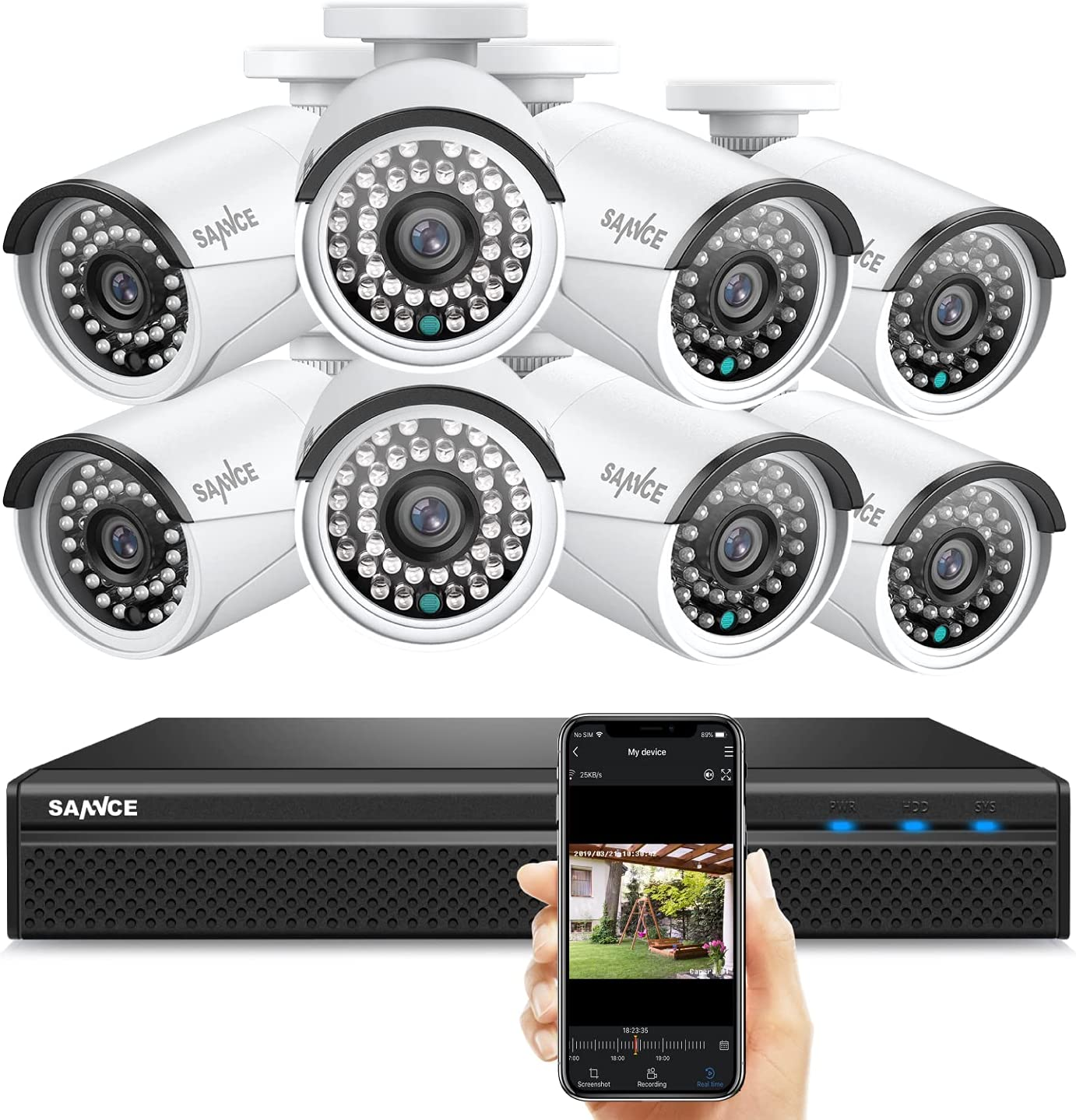 SANNCE 1080P FHD PoE Security System, 8CH 5MP Surveillance NVR with H.264+ Video Compression, 8Pcs 1080P HD Weatherproof Cameras with Smart IR LED, APP Push Alert, Remote Access (Without HDD)
