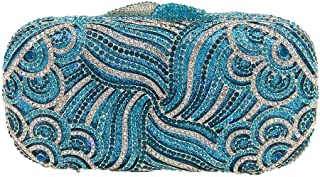 LVfenghe Ladies Rhinestone Evening Clutch Bag European and American Style Diamond Pattern Banquet Party Bag Chain Shoulder Messenger Bag Size: 17.5 * 5**9cm (Color : Blue)