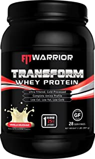 Transform Whey Protein [Vanilla Milkshake], 25g Protein, 2 Pound Powder, 28 Serving, Cross-Flow Ultra-Filtered, Cold-Processed, Grass Fed, Non-GMO, Gluten-Free, Low Cal, Low Fat, Low Carb
