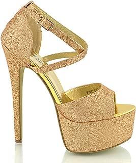 Tamaris Sandaletten High Heels Plateu Braun gold Glitzer 40 w.NEU