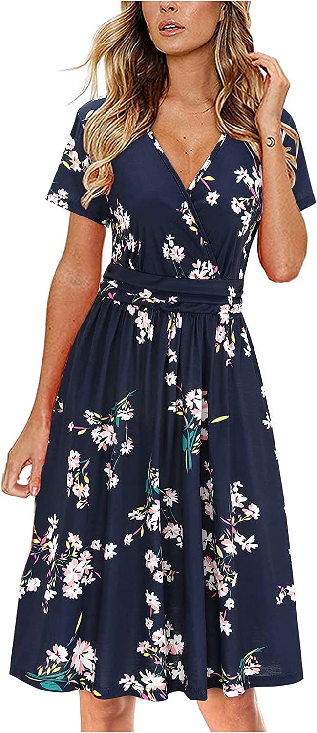 Women's Summer Today's Max 43% OFF only Short Sleeve V-Neck Floral We Party Evening