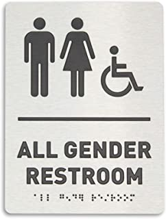 All Gender Restroom Identification Sign - Wheelchair Accessible, ADA Compliant Bathroom Sign, Raised Icons, Raised Braille, Brushed Aluminum, TCO Inspection Certified (6